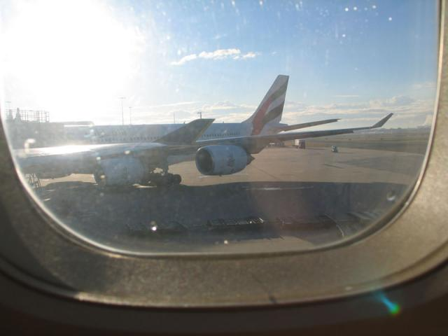 Waiting for the plane to take off in Sydney