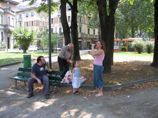 Eating in a park in Milan