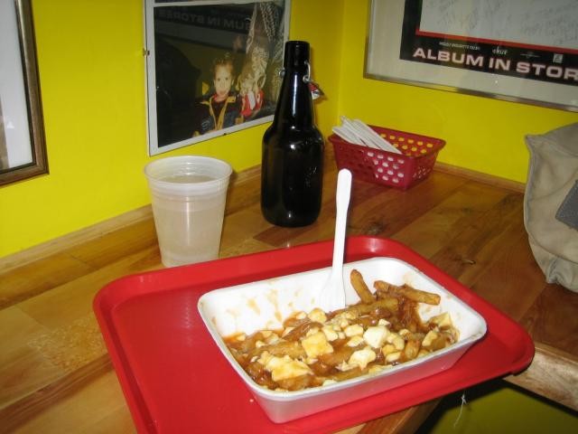 My first poutine and spruce beer